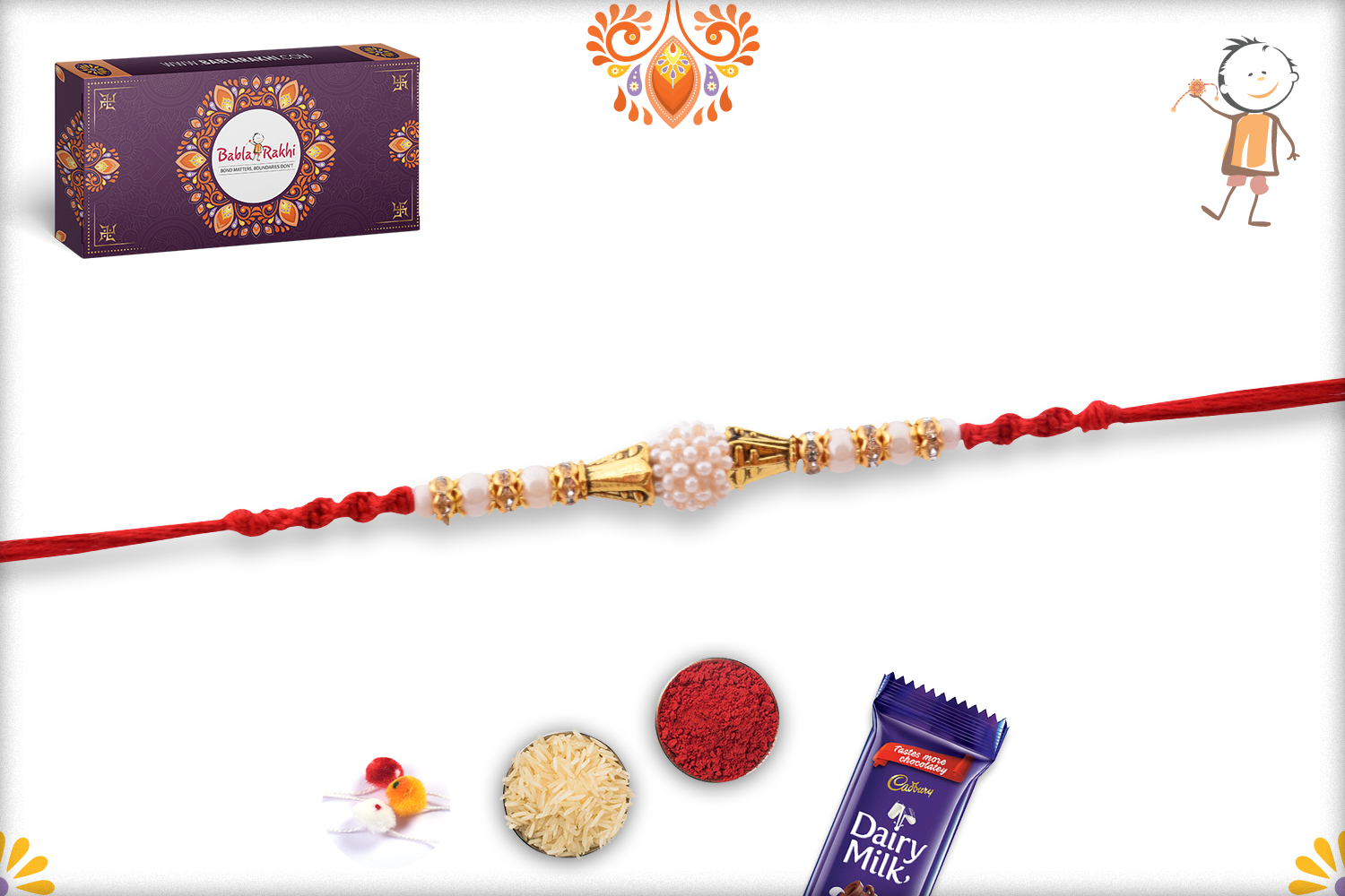 White Flower of Pearl Beads Rakhi with Red Stylish Thread 2