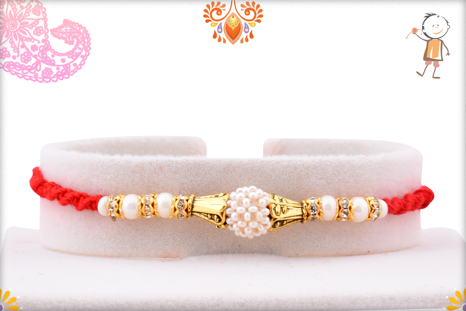 White Flower of Pearl Beads Rakhi with Red Stylish Thread 1