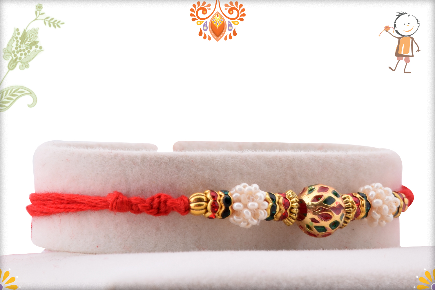 Eye-catching Combination of Golden, Red and Green Rakhi 2