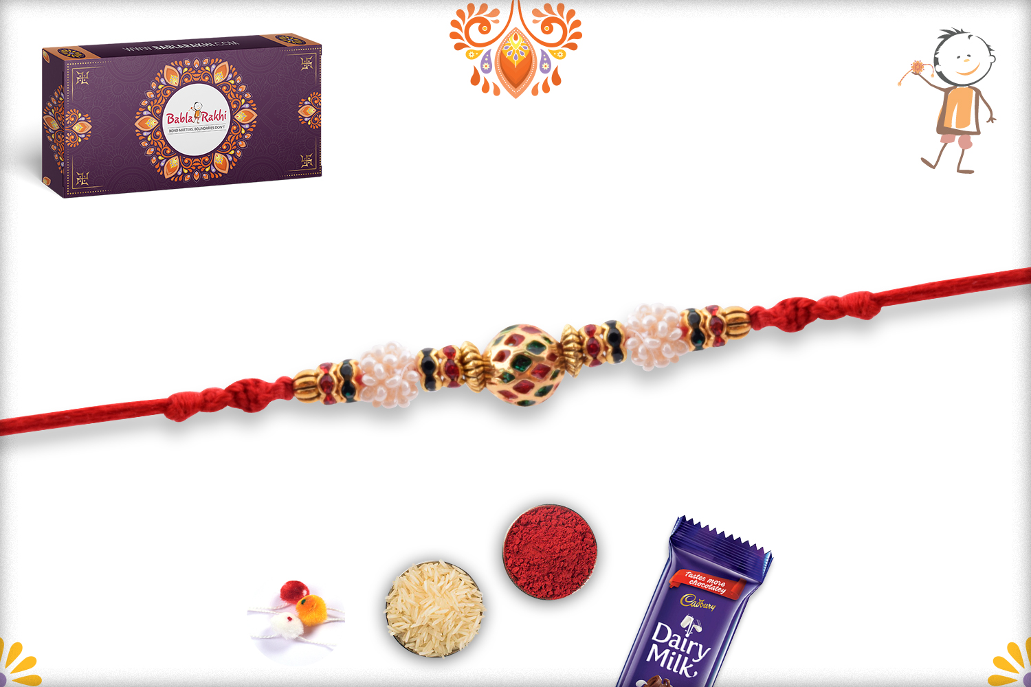 Eye-catching Combination of Golden, Red and Green Rakhi 3