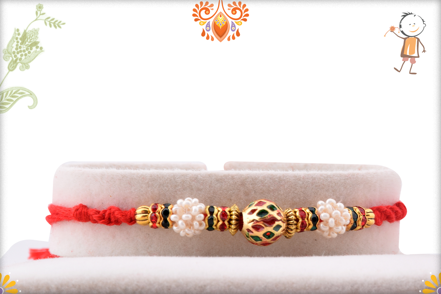 Eye-catching Combination of Golden, Red and Green Rakhi 1