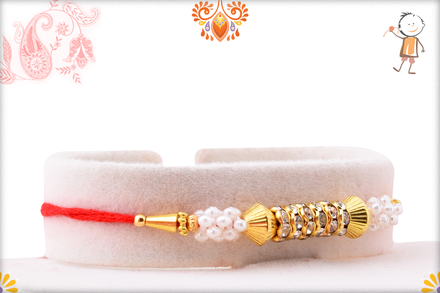 Classic and Designer Combination of White and Golden Rakhi 2