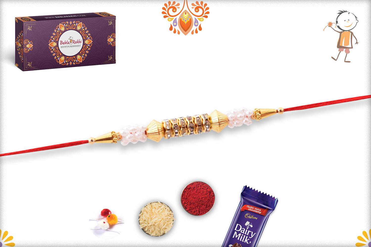 Classic and Designer Combination of White and Golden Rakhi 3
