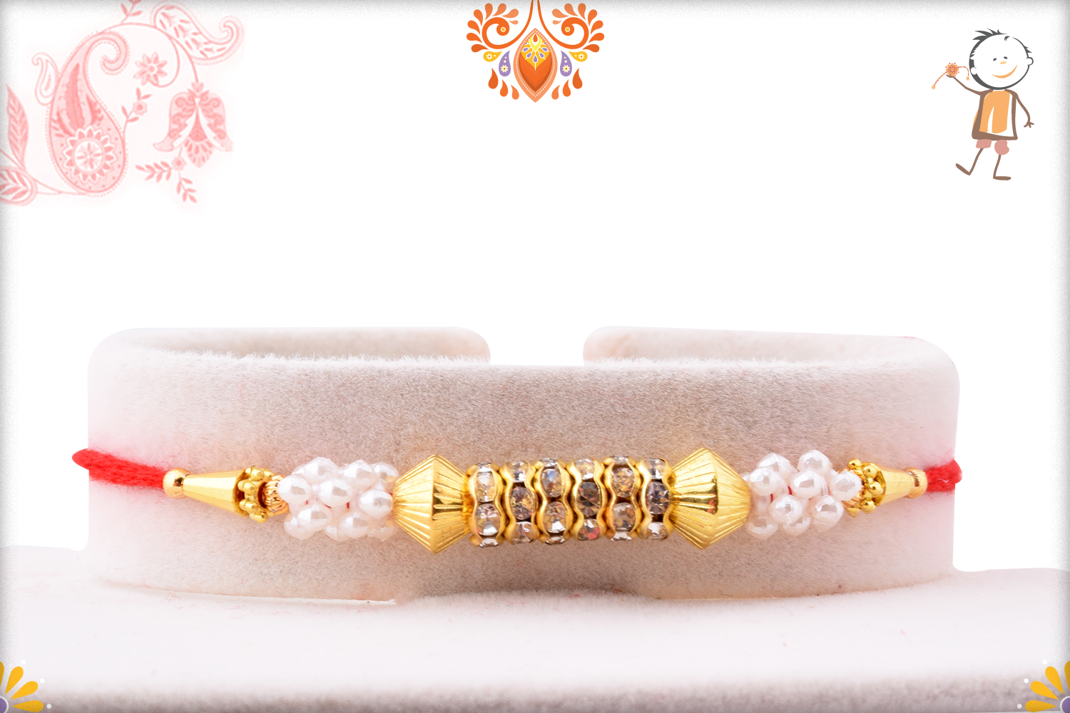 Classic and Designer Combination of White and Golden Rakhi 1
