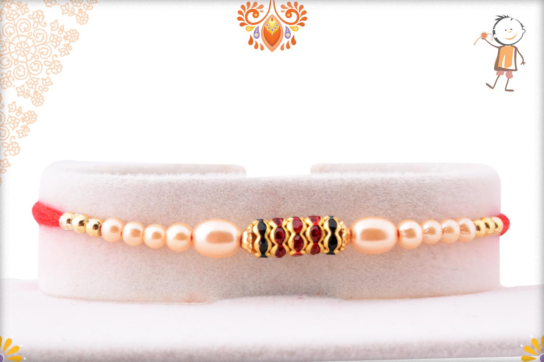Simple yet Elegant Design with White Pearl Beads Rakhi 1