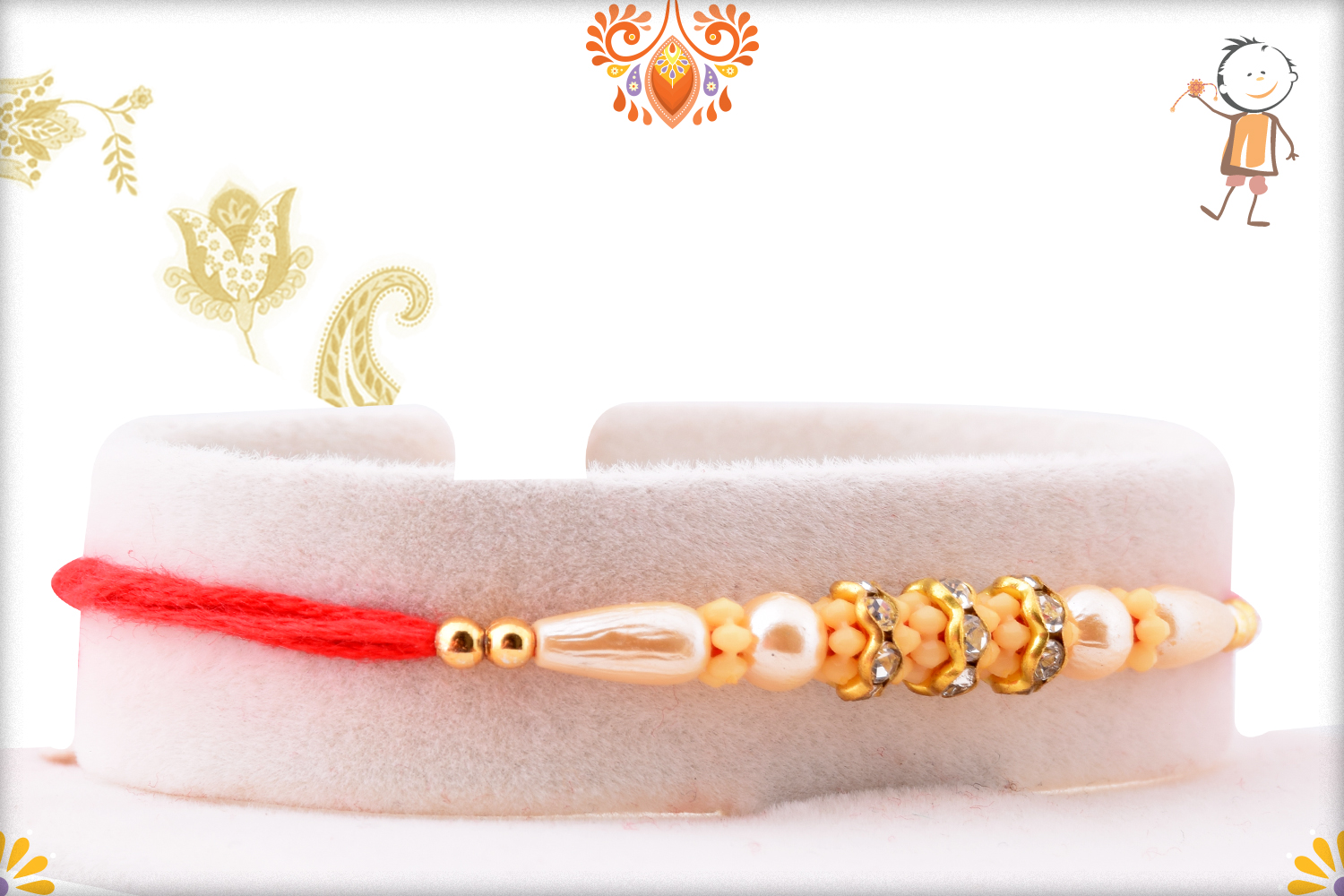 Beautiful Pearl Beads Flower with Red Thread Rakhi 2