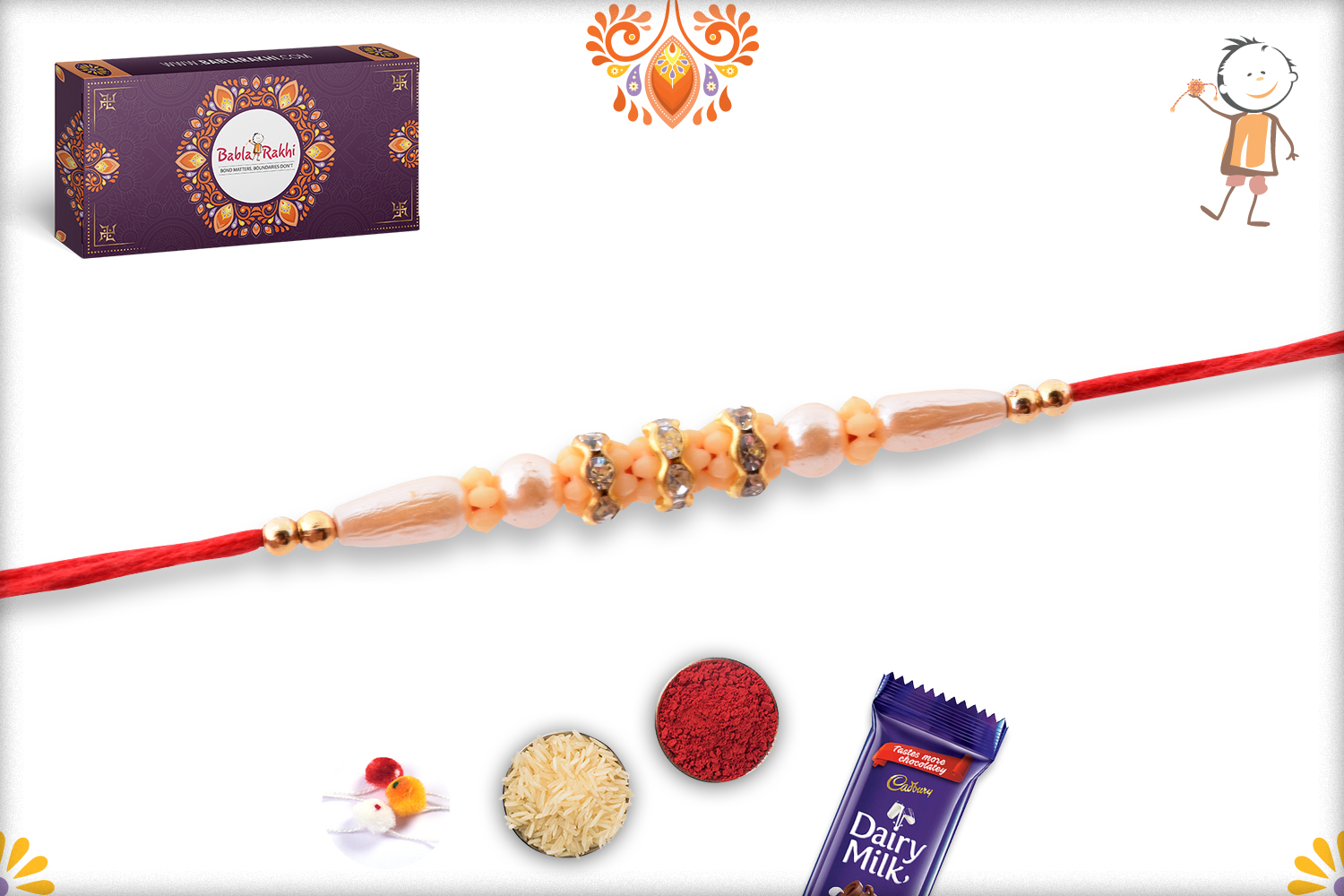 Beautiful Pearl Beads Flower with Red Thread Rakhi 3