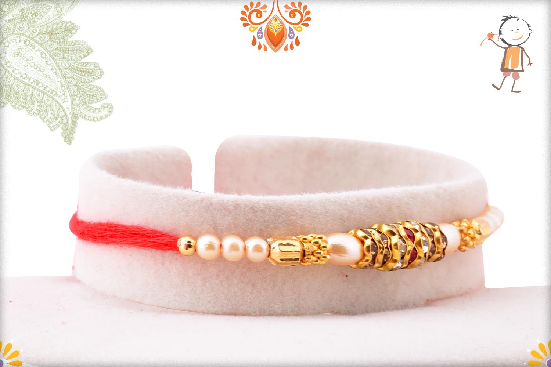 Evergreen Simple Pearl Beads Rakhi 2