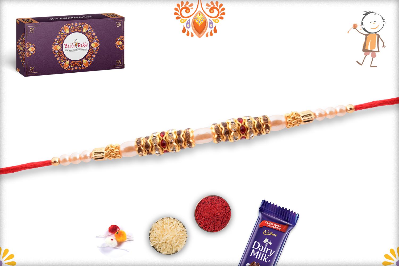 Evergreen Simple Pearl Beads Rakhi 3