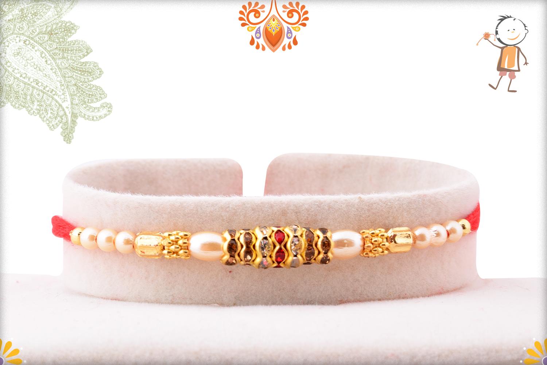 Evergreen Simple Pearl Beads Rakhi 1