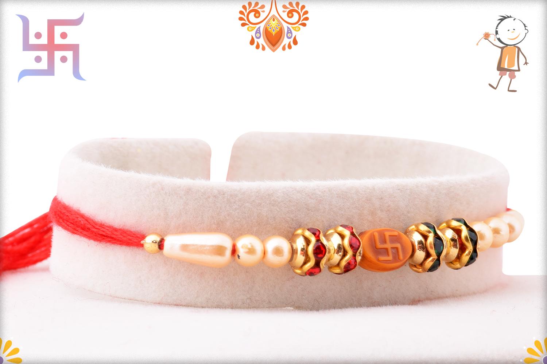 Spiritual Svastik Om Pearls and Red Thread Rakhi 2