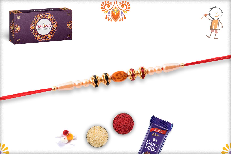 Spiritual Svastik Om Pearls and Red Thread Rakhi 3