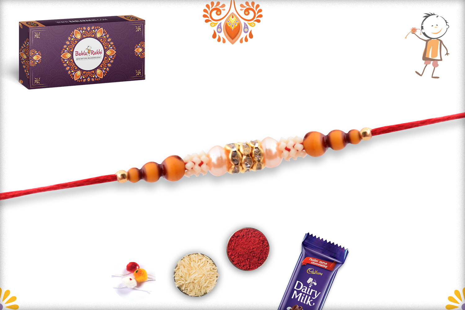 Evergreen Simple Wooden and White Pearl Beads Rakhi 2