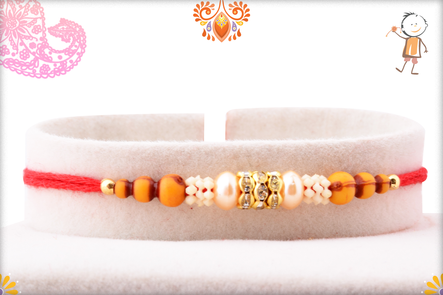 Evergreen Simple Wooden and White Pearl Beads Rakhi 1