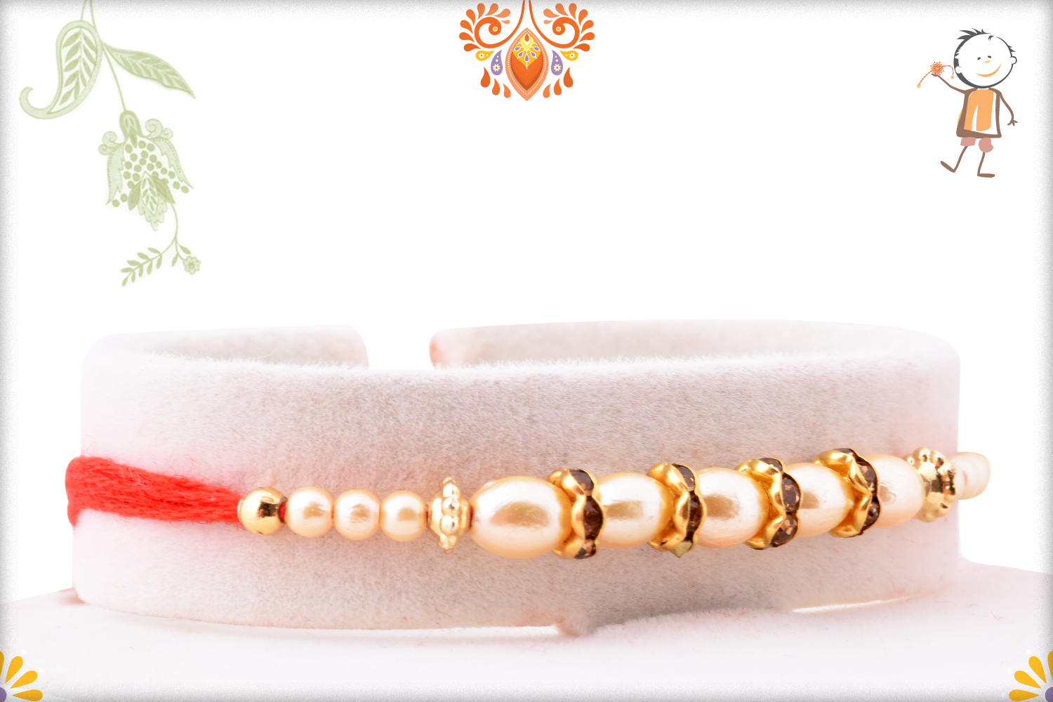 Exclusive White Pearl Rakhi with Red Thread 2
