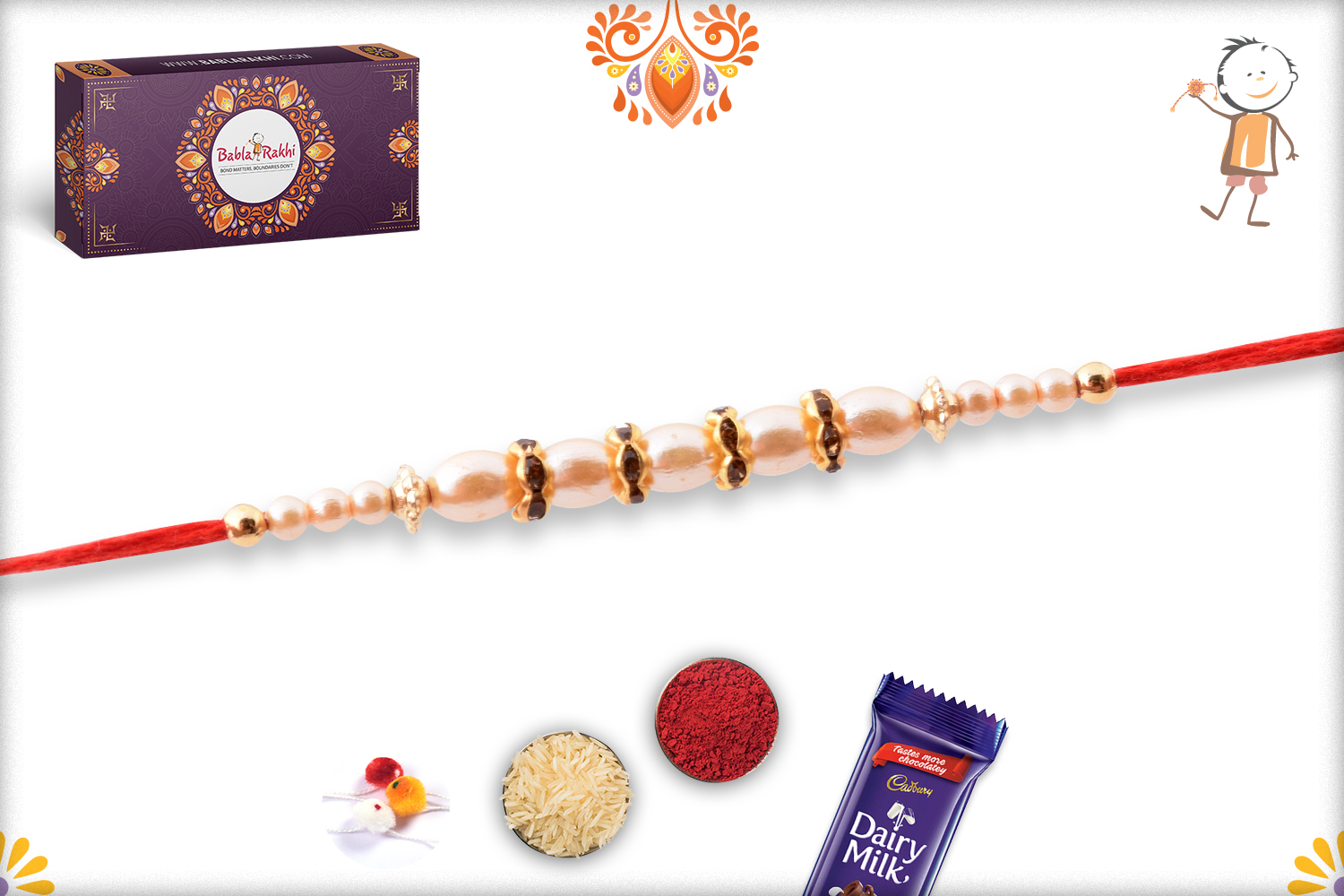 Exclusive White Pearl Rakhi with Red Thread 3
