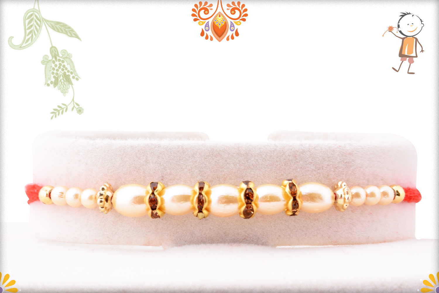 Exclusive White Pearl Rakhi with Red Thread 1