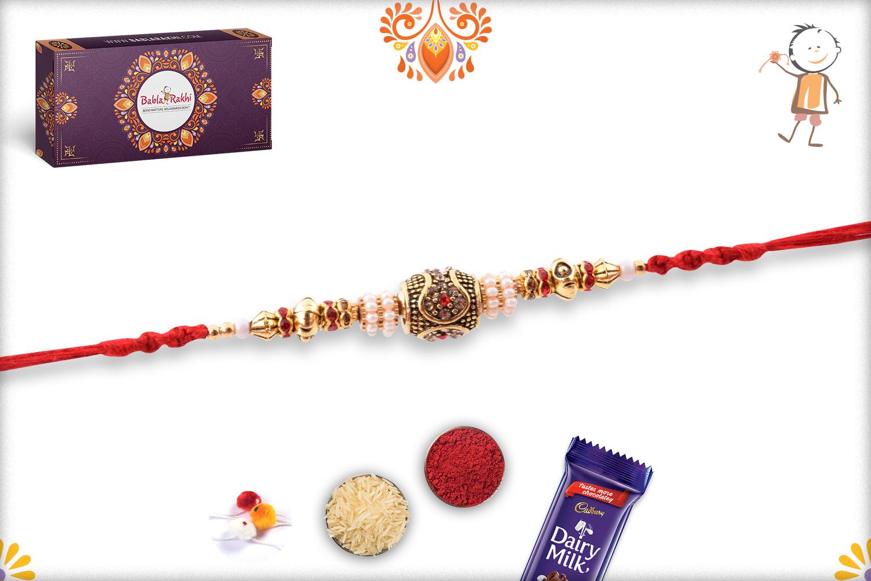 Premium Designer Golden Rakhi with Red Thread 3