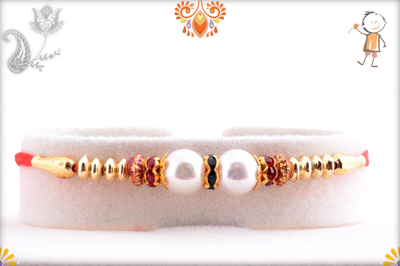 Premium Two White Pearl Rakhi with Red Thread 1
