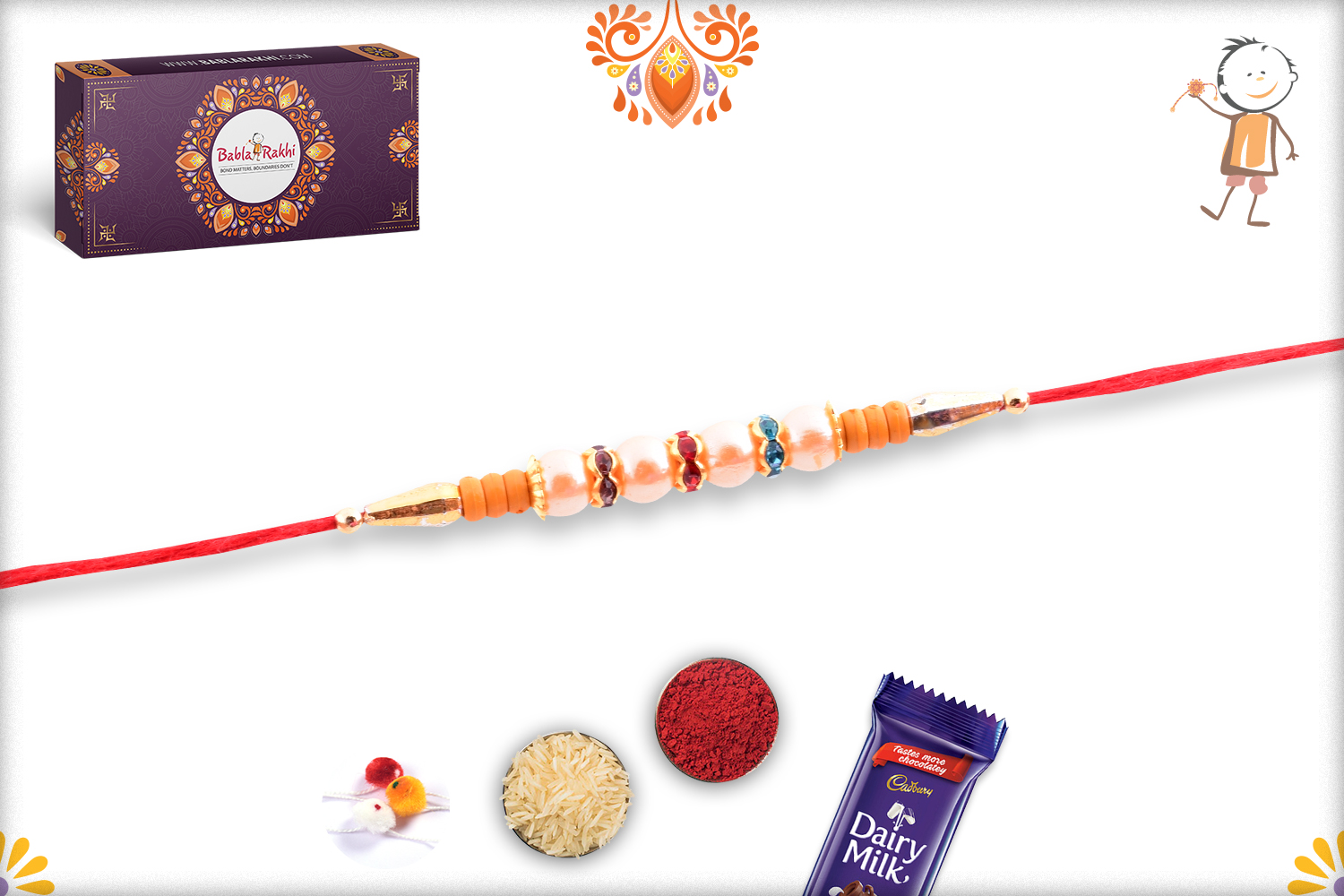 Premium Four White Pearl Rakhi with Golden and Wooden Touch 2