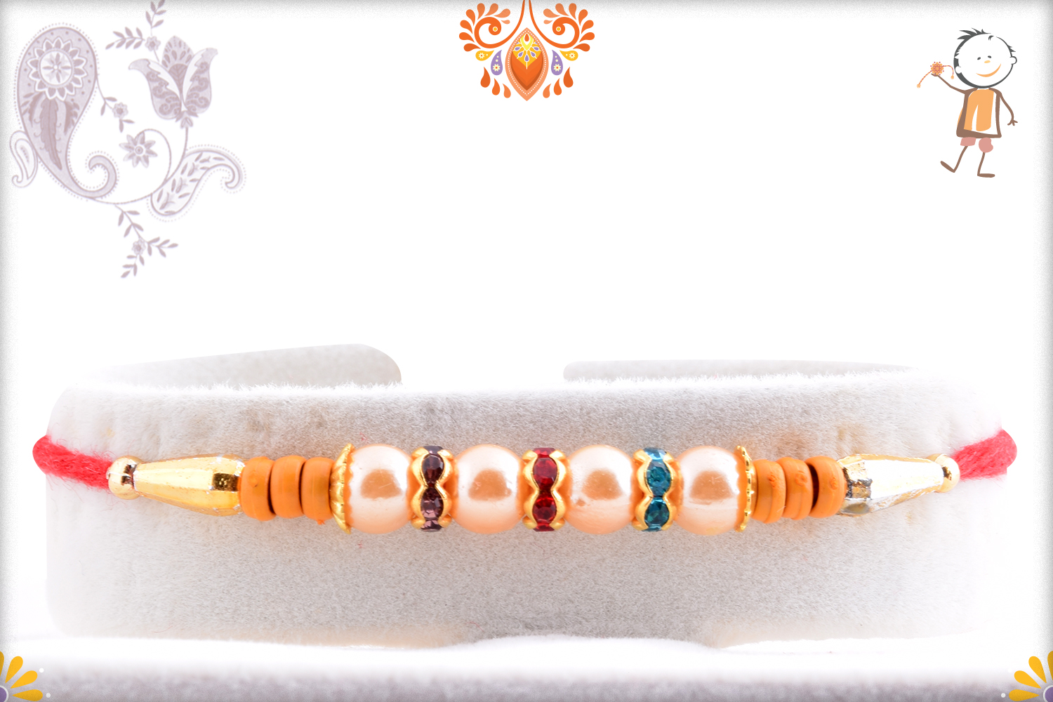 Premium Four White Pearl Rakhi with Golden and Wooden Touch 1