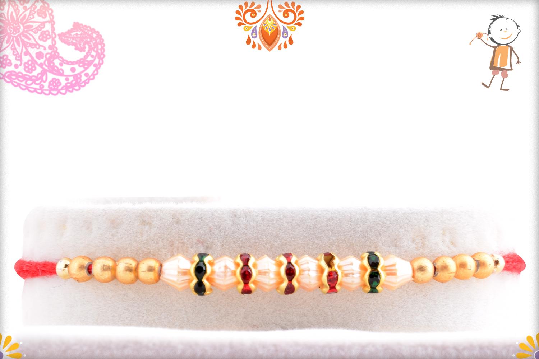 Evergreen White and Golden Pearl Beads Rakhi 1