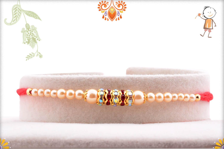 White and Ruby Pearl Beads Rakhi 1