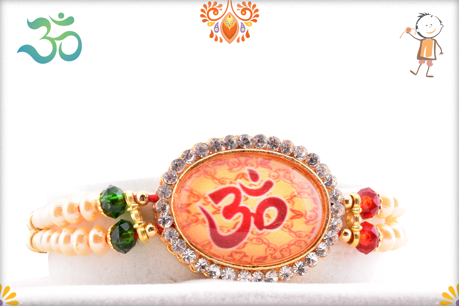 Stunning Combination of Stone, Pearl and Diamond with Om Eakhi 1