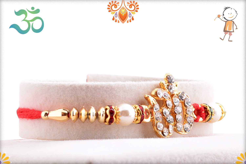 Delicate Diamond Om Rakhi 2