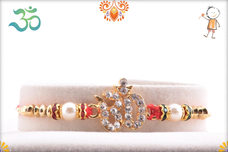 Delicate Diamond Om Rakhi 1