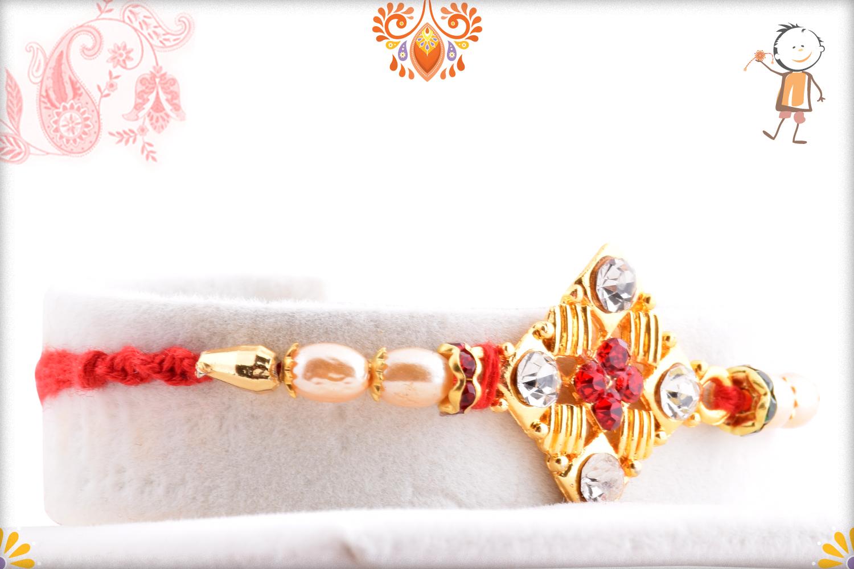 Delicate Diamond Shape Golden and Pearl Beads Rakhi 2
