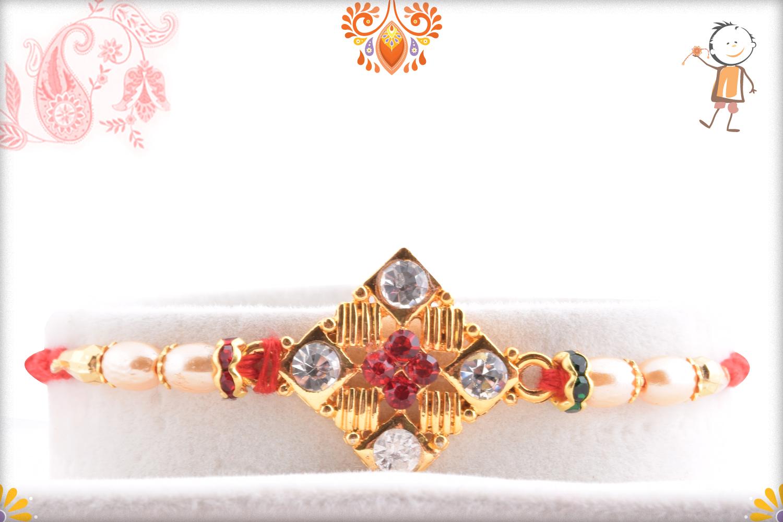 Delicate Diamond Shape Golden and Pearl Beads Rakhi 1