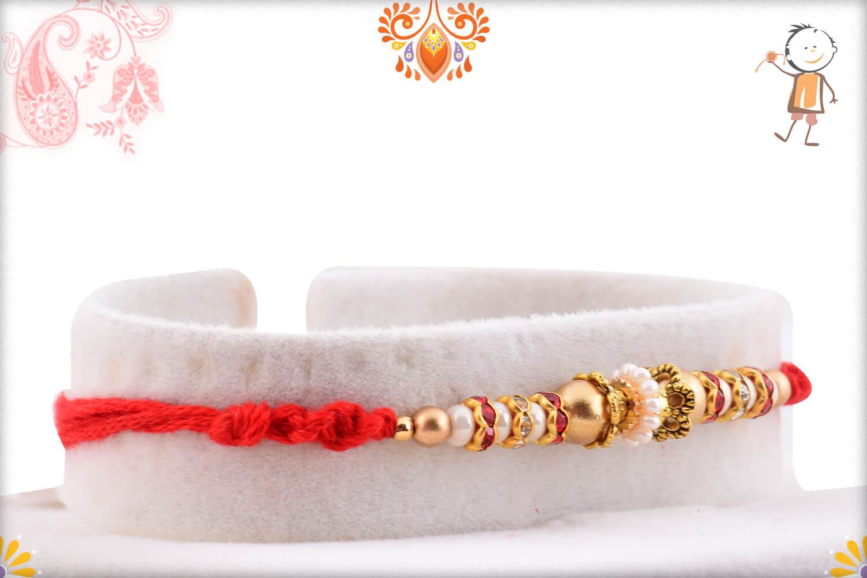Evergreen Golden Beads And Red Designer Thread Rakhi 2