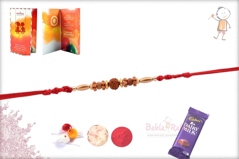 Simple Rudhraksh Rakhi with Oval Golden Beads 2