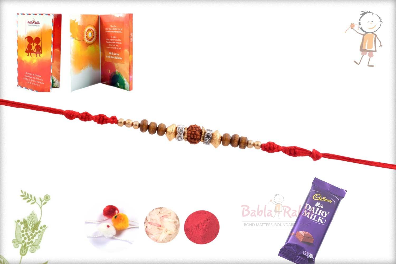 Rudhraksh Rakhi with Exclusive Golden Beads 2