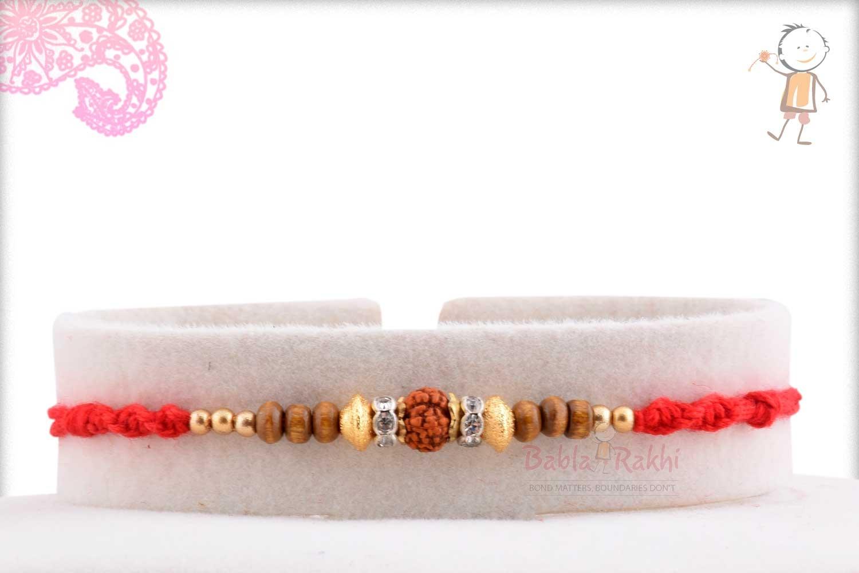 Rudhraksh Rakhi with Exclusive Golden Beads 1