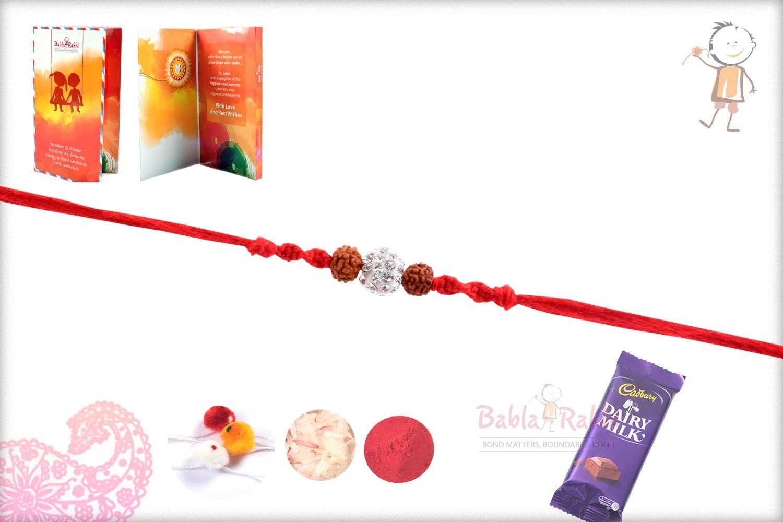 Simple Rudhraksh Rakhi with Diamond bead 2