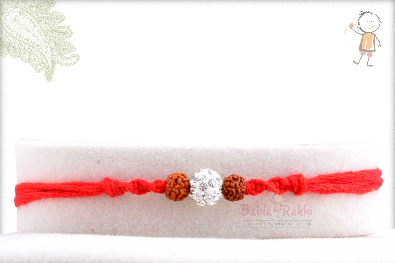 Simple Rudhraksh Rakhi with Diamond bead 1