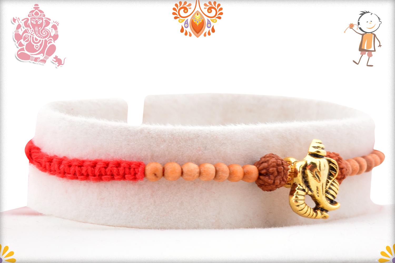 Beautiful Combination Of Golden Ganpati, Rudraksha and Wooden Beads Rakhi 2