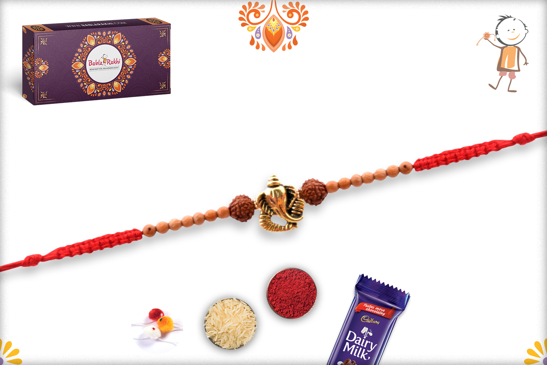 Beautiful Combination Of Golden Ganpati, Rudraksha and Wooden Beads Rakhi 3