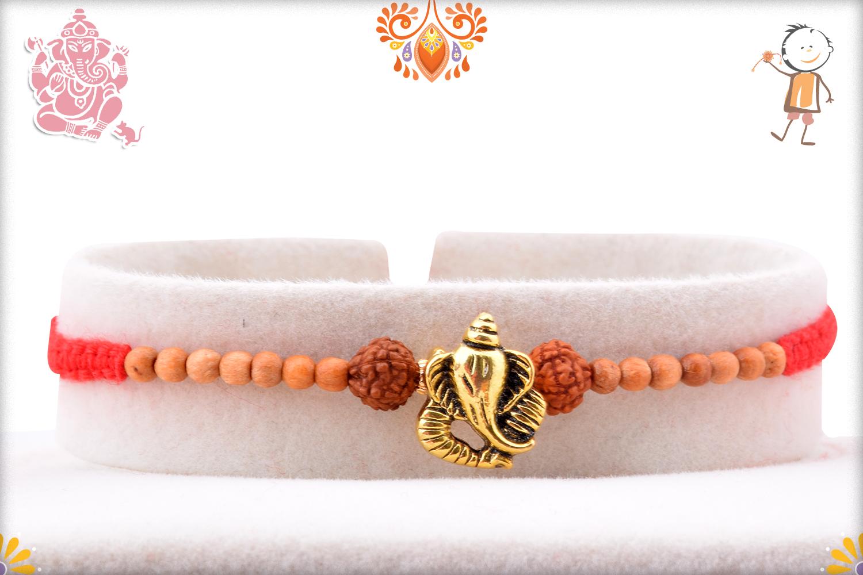 Beautiful Combination Of Golden Ganpati, Rudraksha and Wooden Beads Rakhi 1