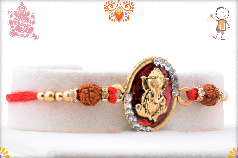 Royal Red and Golden Ganpati With Rudraksha Rakhi 2