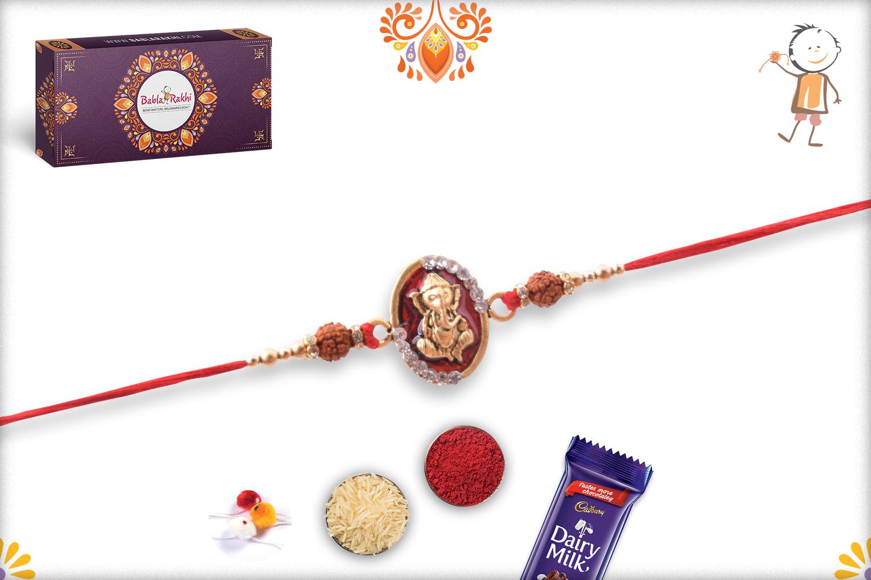 Royal Red and Golden Ganpati With Rudraksha Rakhi 3