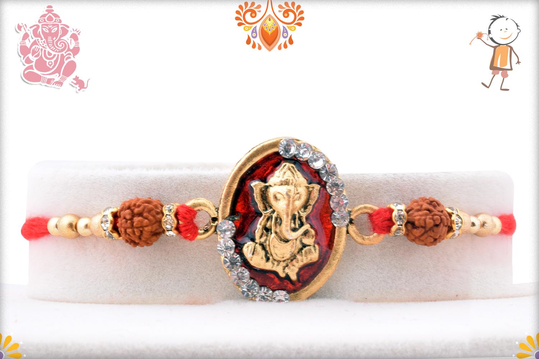 Royal Red and Golden Ganpati With Rudraksha Rakhi 1
