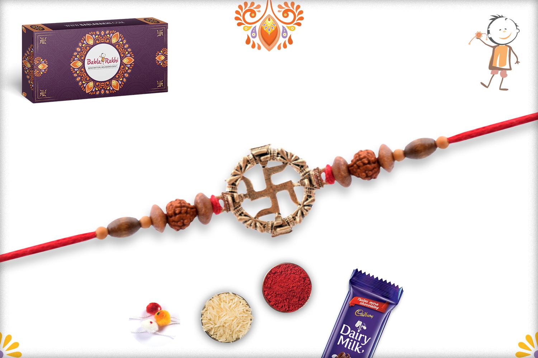 Beautiful Cmbination Of Golden Swastik, Rudraksha and Wooden Beads Rakhi 3