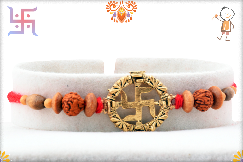 Beautiful Cmbination Of Golden Swastik, Rudraksha and Wooden Beads Rakhi 1