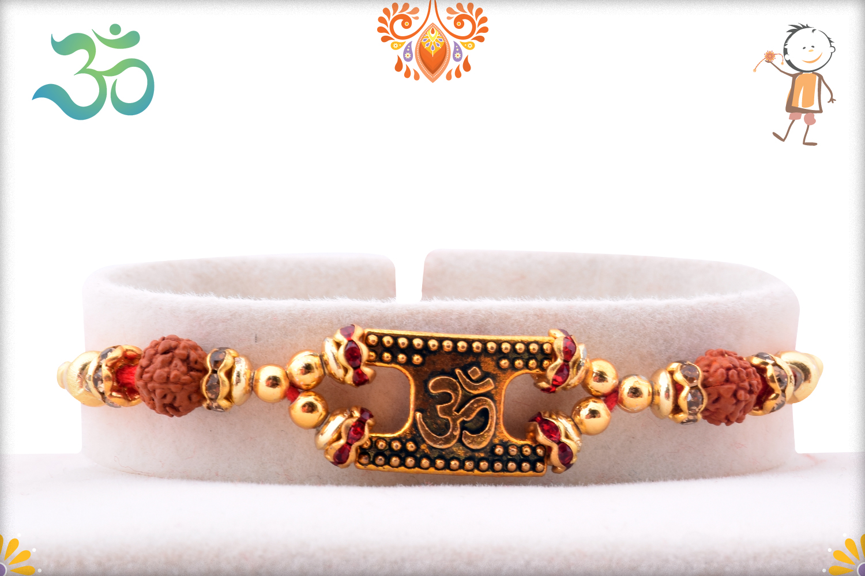 Royal Golden Designer Om and Pearls Rakhi 1