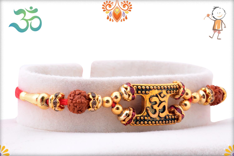 Royal Golden Designer Om and Pearls Rakhi 2