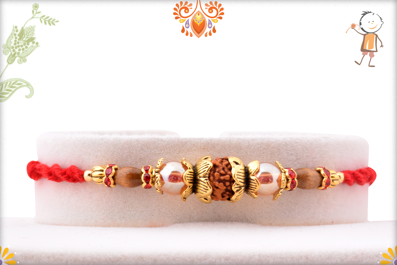 Fabulous Combination of Single Rudraksha And Designer Thread Rakhi 1