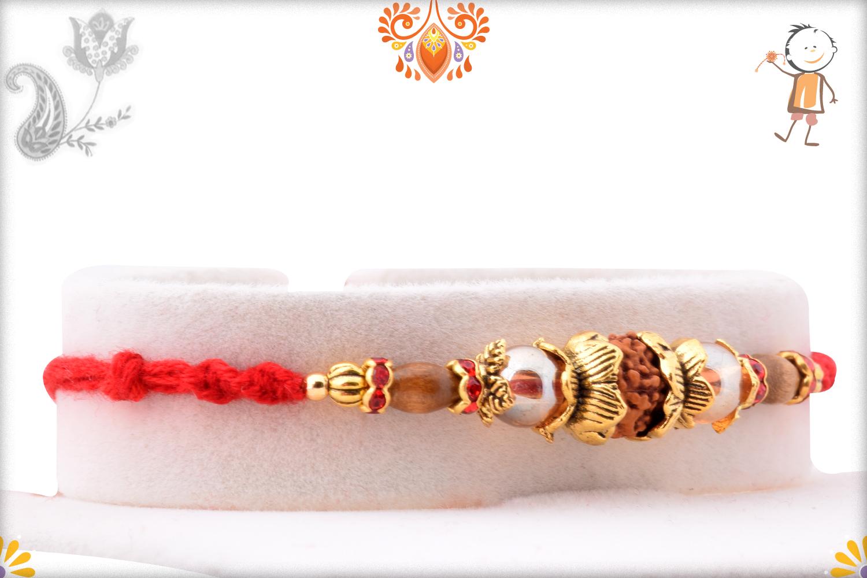 Fabulous Combination of Single Rudraksha And Designer Thread Rakhi 2